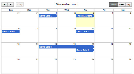 FullCalendar jQuery Calendar Component for XMod Pro