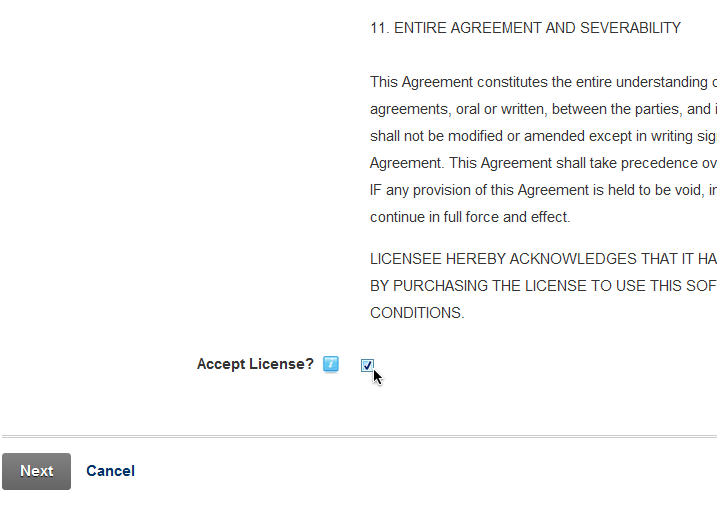 Select Accept License