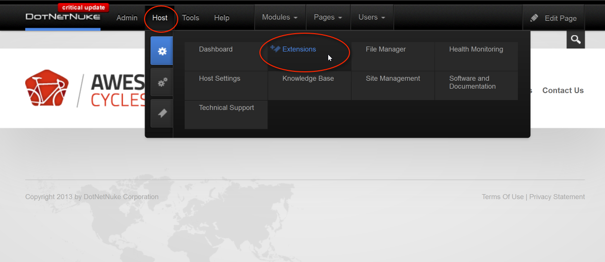 Go to the Host Menu and select Extensions